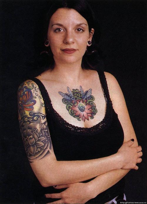 Женские тату на руке цветные фото - 8