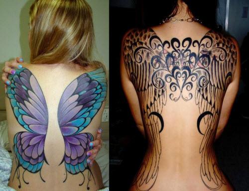 Женские тату на спине крылья фото - 3