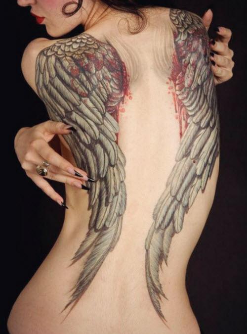 Женские тату на спине крылья фото - 7