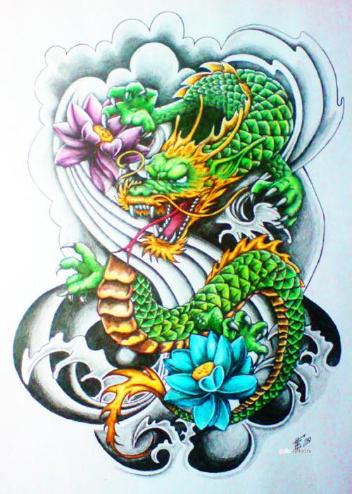 Китайский цветной дракон тату фото - 2
