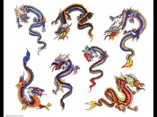 Китайский цветной дракон тату фото - 3