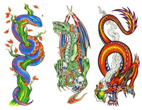 Китайский цветной дракон тату фото - 4