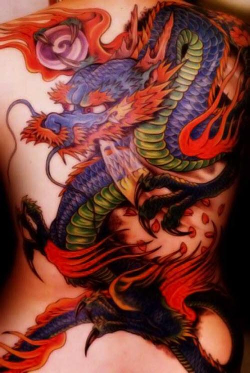 Китайский цветной дракон тату фото - 7