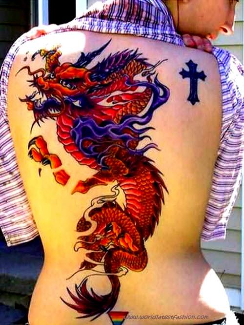 Китайский цветной дракон тату фото - 8