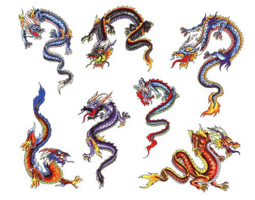 Китайский цветной дракон тату фото - 9