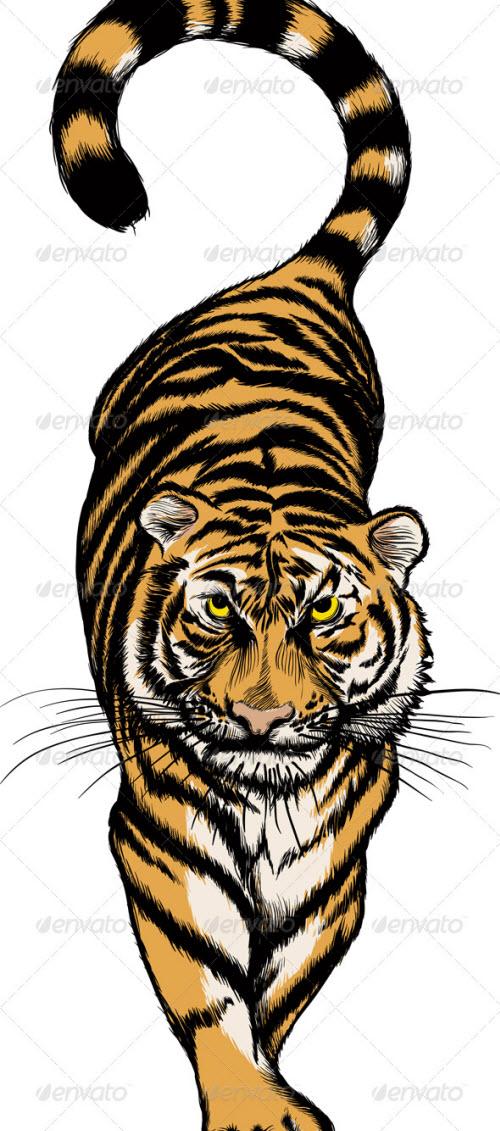 Крадущийся тигр тату фото - 3