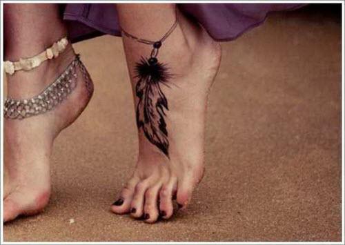 Красивое тату на ноге девушки фото - 2