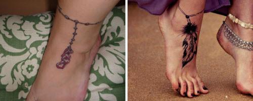 Красивое тату на ноге девушки фото - 8