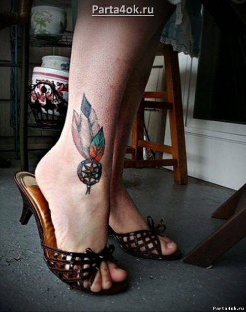 Красивое тату на ноге девушки фото - 9