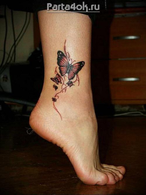 Красивые женские тату на ноге фото - 3