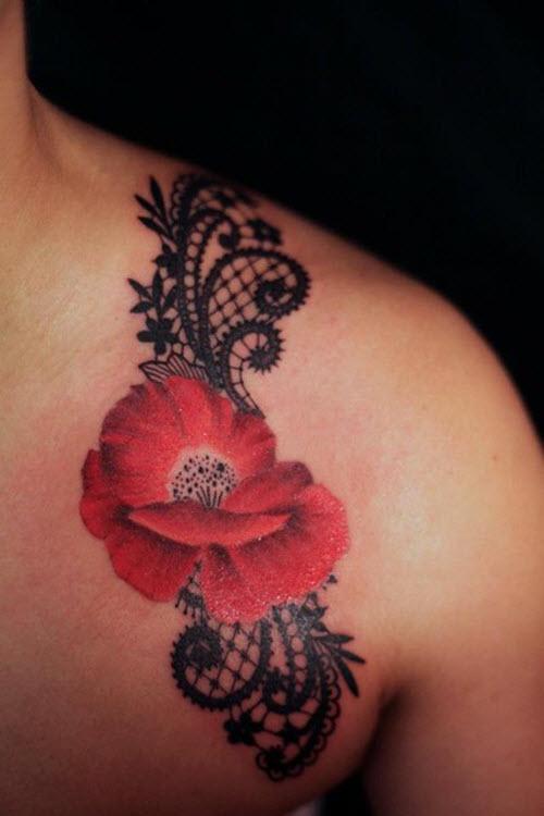 Кружева и цветы тату фото - 1