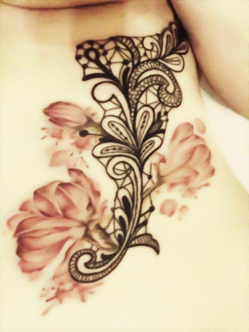Кружева и цветы тату фото - 4