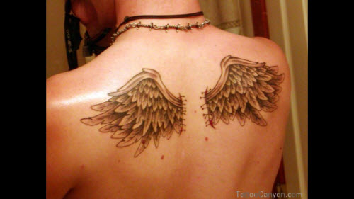 Крылья ангела на спине тату фото - 2