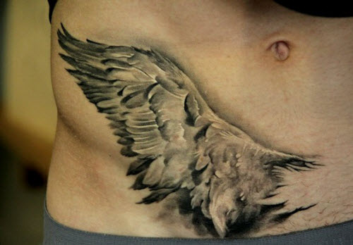 Крылья на животе тату фото - 4