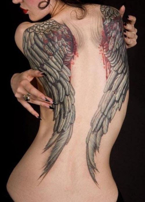 Крылья на всю спину тату фото