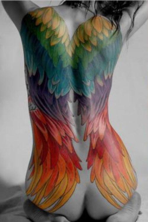 Крылья на всю спину тату фото - 8
