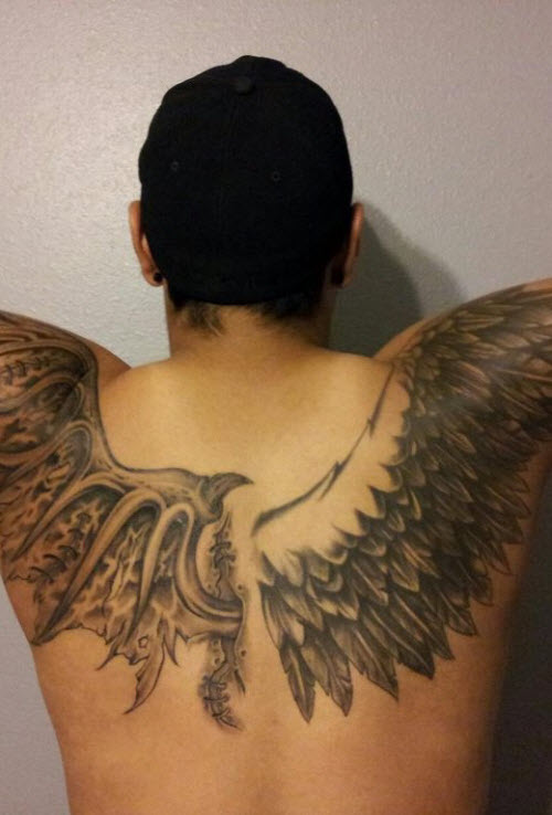 Крылья во всю спину тату фото - 1