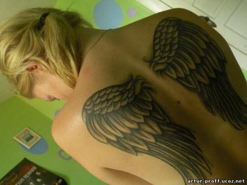 Крылья во всю спину тату фото - 9