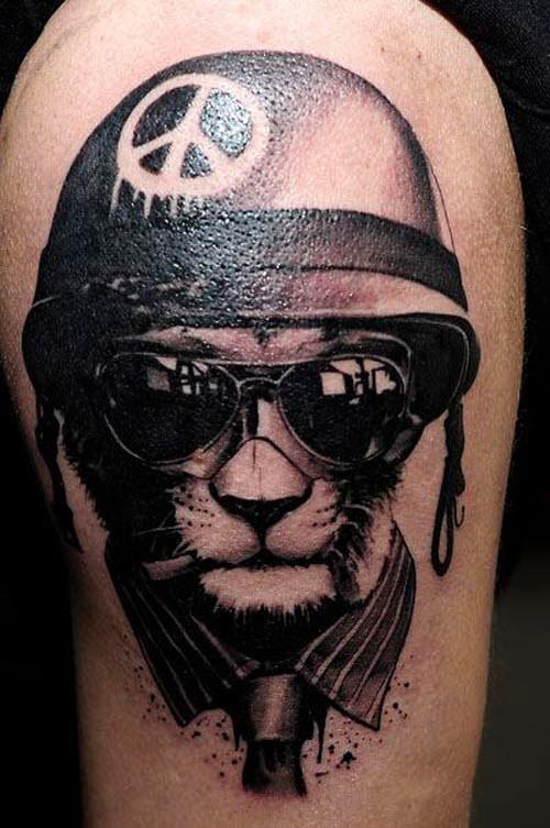 Лев в очках тату фото - 4