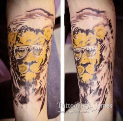 Лев в очках тату фото - 9