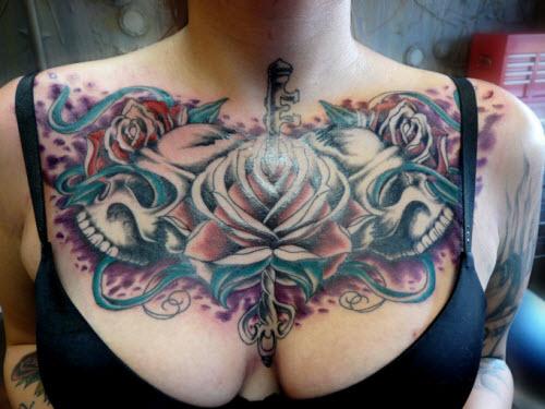 Маленькие тату на грудине фото женские