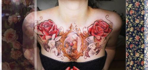 Маленькие тату на грудине фото женские - 5