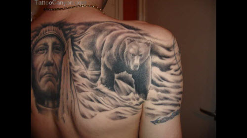Медведь во всю спину тату фото