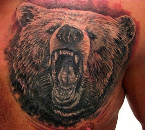 Медведь во всю спину тату фото - 2
