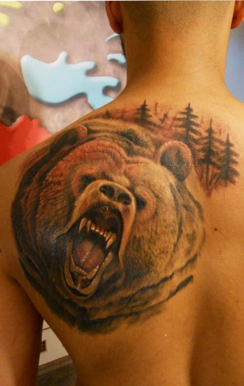 Медведь во всю спину тату фото - 3