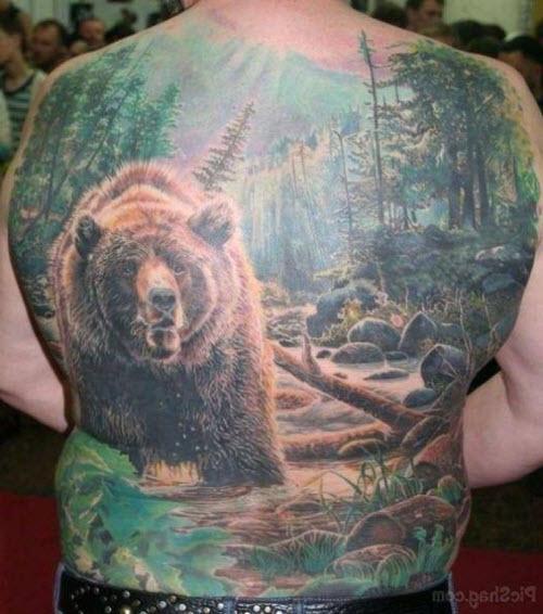 Медведь во всю спину тату фото - 8