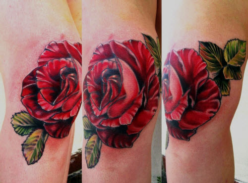 Розы на коленях тату фото - 2