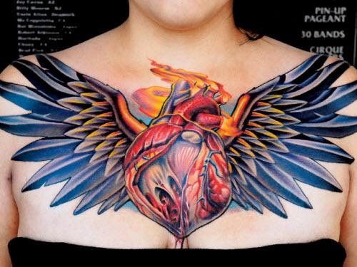 Сердце на животе фото тату - 6