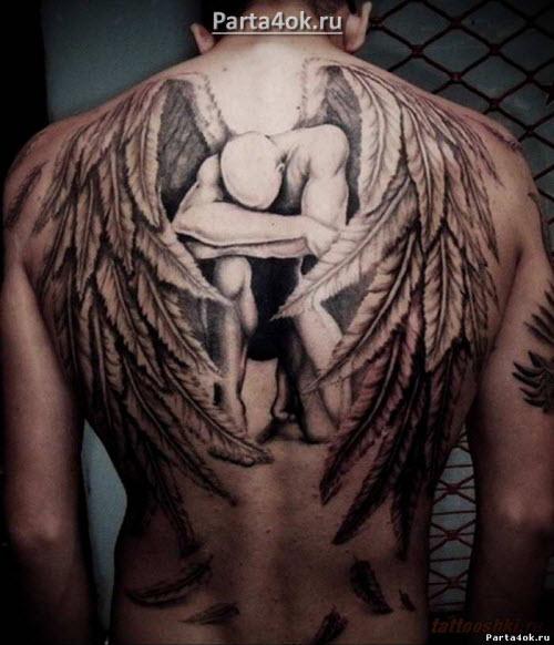 Тату ангела хранителя на спине фото - 1