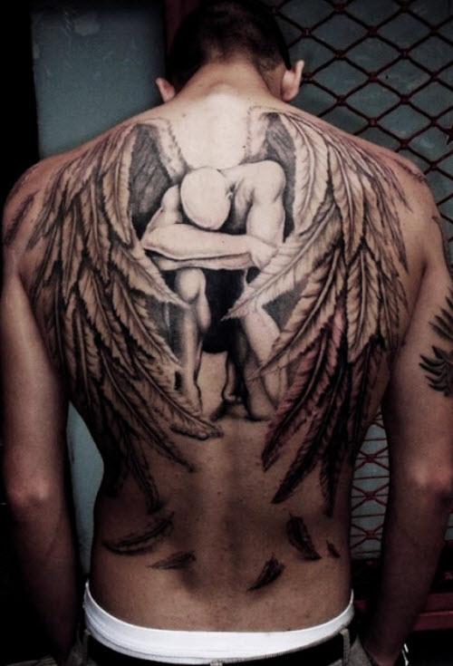 Тату ангела хранителя на спине фото - 3