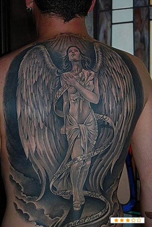 Тату ангела хранителя на спине фото - 7