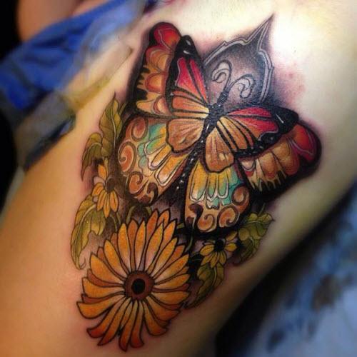 Тату бабочек на бедре фото