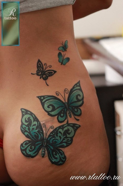 Тату бабочек на бедре фото - 2