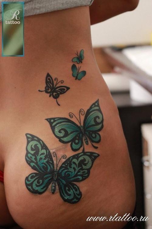 Тату бабочек на бедре фото - 8