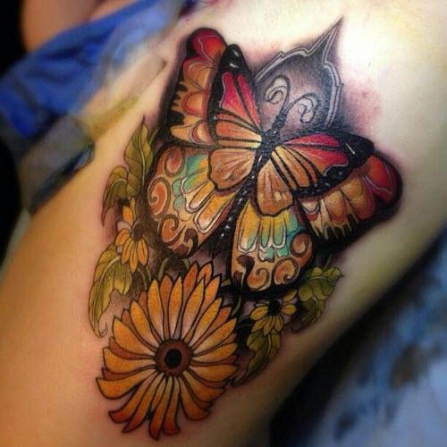 Тату бабочек на бедре фото - 9