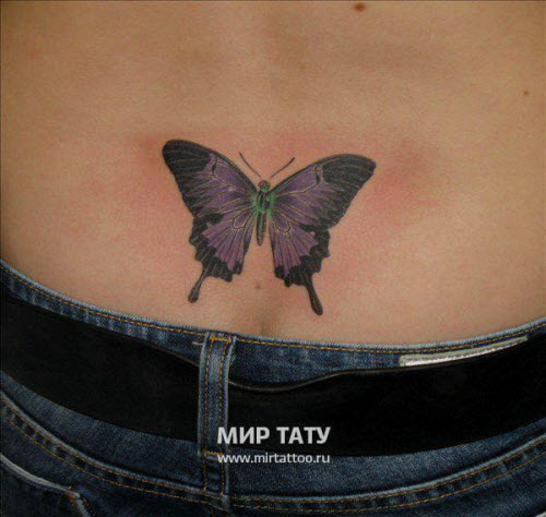 Тату бабочек на пояснице фото