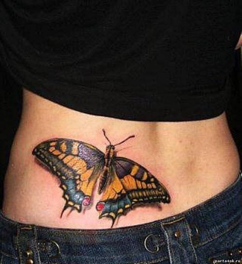Тату бабочек на пояснице фото - 6