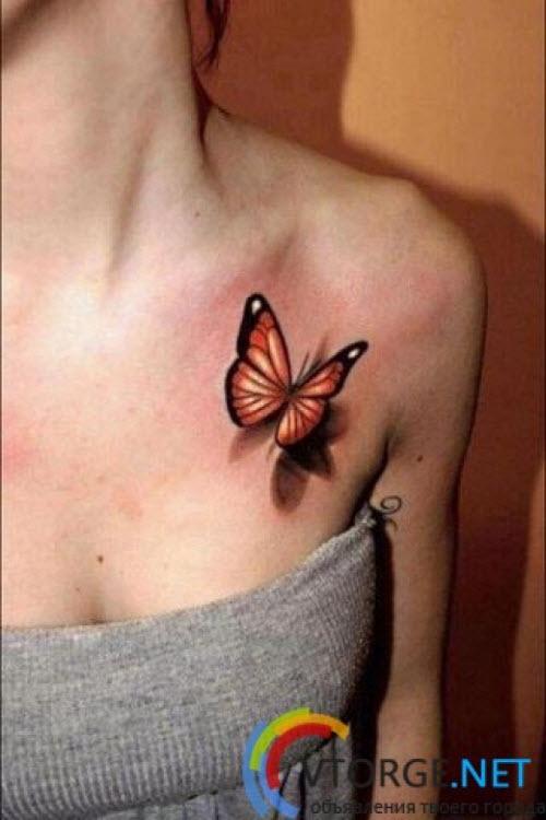 Тату бабочка на ключице фото - 8