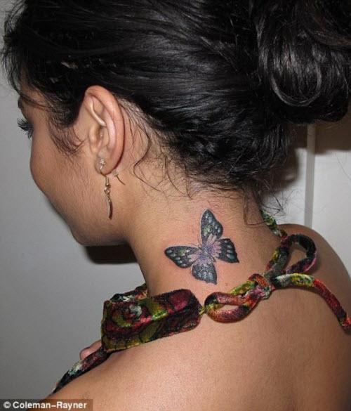 Тату бабочка на шее сзади фото