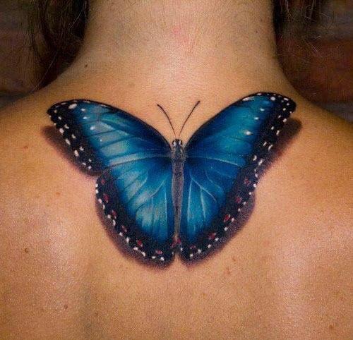 Тату бабочка на шее сзади фото - 8