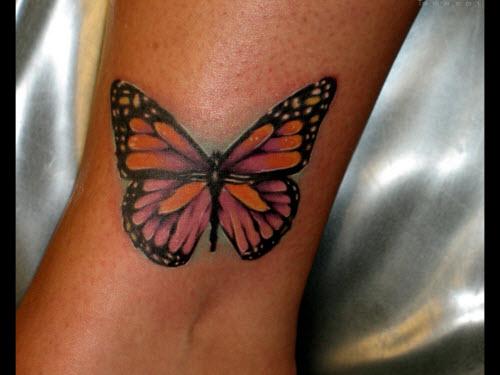 Тату бабочка на щиколотке фото - 1