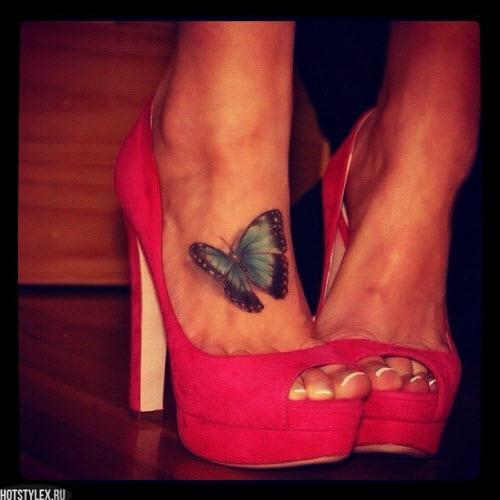 Тату бабочка на щиколотке фото - 6