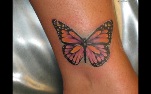 Тату бабочка на щиколотке фото - 8
