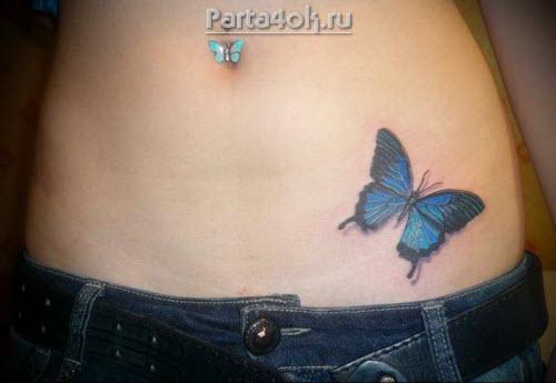 Тату бабочка внизу живота фото - 1