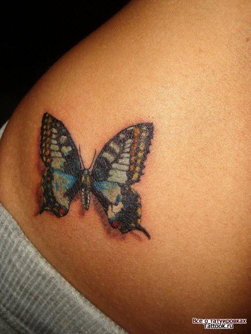 Тату бабочка внизу живота фото - 2