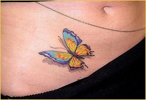 Тату бабочка внизу живота фото - 5